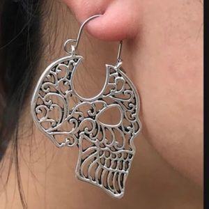 Jewelry - HOLLOW SKULL Silver HOOP EARRINGS. New